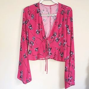 BLUE LIFE PINK FLORAL LONG SLEEVE TOP SZ S